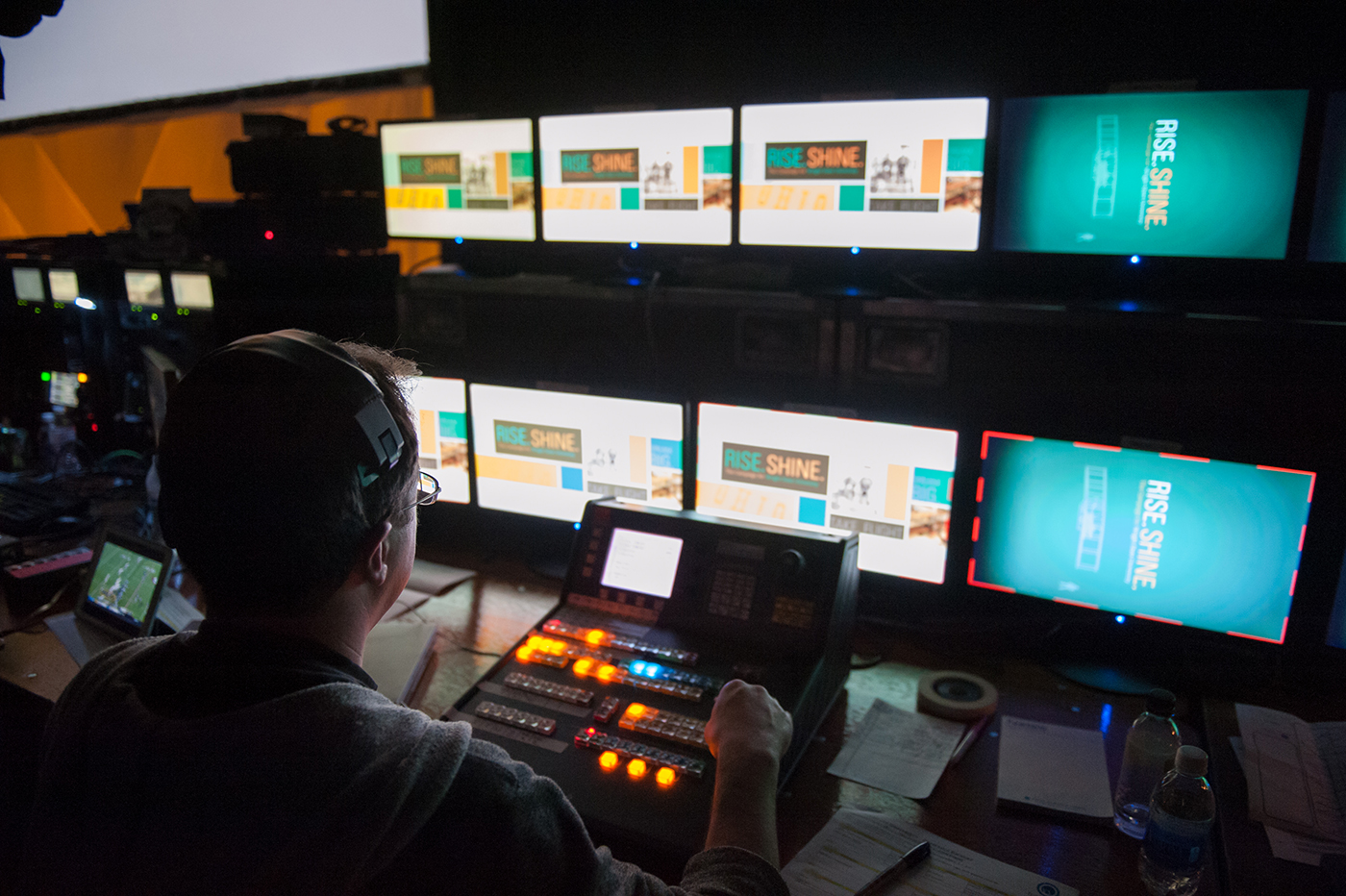 Behind the scenes controlling the show.