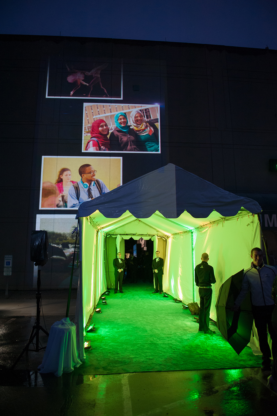 VIP arrival entrance with animated projection.