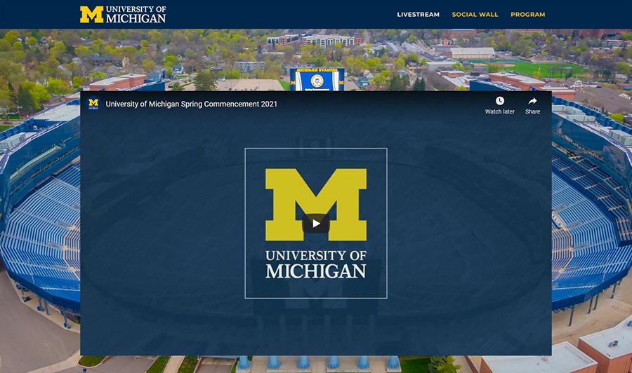 University of Michigan custom web page